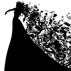 Silhouette of Opera Singer and Musical Symbols