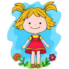 A little girl standing in flowers