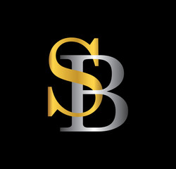 SB initial letter with gold and silver