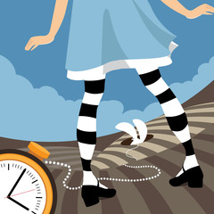Alice watches as the white rabbit goes down the rabbit hole. EPS 10 vector.