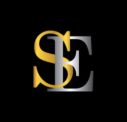 SE initial letter with gold and silver