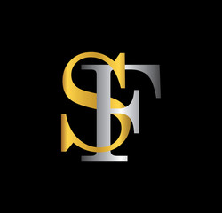 SF initial letter with gold and silver