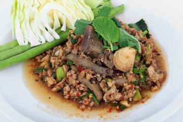 Thai ground pork salad, Spicy minced pork and pork liver salad (Larb Mu) on white background