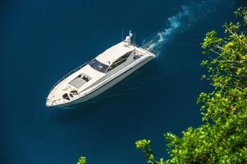 Luxury yacht sailing in Mediterranean Sea near French Riviera, Monaco