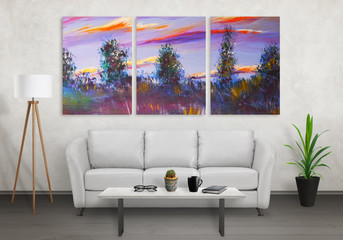 Art canvas in three parts. Landscape theme. Sofa, lamp, plant and table in room interior.
