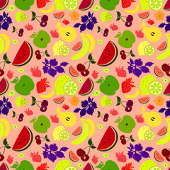 Drawings of colourful fruits and berries/pink  background.