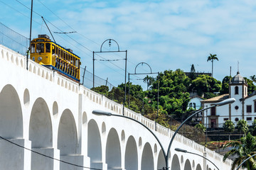 Yellow Train under the Lapa district in Rio de Janeiro, Brazil Wall mural