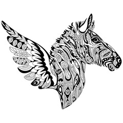 Zentangle stylized cartoon zebra with wings, isolated on white background. Sketch for adult antistress coloring page. Hand drawn doodle, zentangle, floral design elements for coloring book.