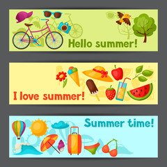 Banners with stylized summer objects. Design for cards, covers, brochures and advertising booklets