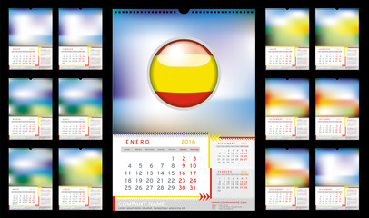 Wall Monthly Calendar for Year 2016 in Spanish. Different Color for Season. Week starts Monday. Holidays not marked. Vector Template with Space for Photo. Portrait Orientation. Set of 12 Months