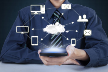 Man with cellphone and Cloud Computing diagram