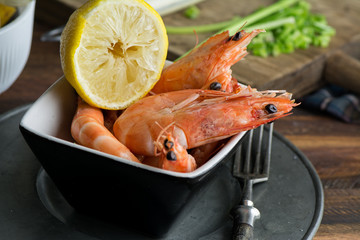 Delicious prawns in a bowl