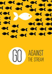 fish swims against the stream. Creative yellow flat poster.