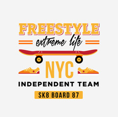 skateboard graphic design for t-shirt. NYC independent team.