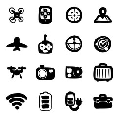 Drone Or Quadcopter Icons Freehand Fill
