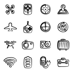 Drone Or Quadcopter Icons Freehand