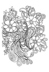 Tropical wild life. Flowers and peacock on a white. Vector doodle floral image for coloring book and designs