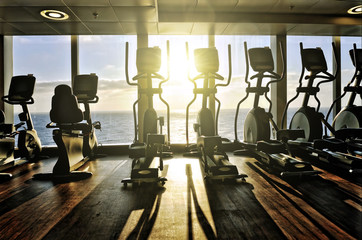 elliptical cross trainer in a row in a gym on a cruise liner wit