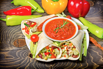 Healthy meal (food), vegetarian food - Mexican salad in tortilla and gazpacho sauce