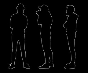 Collection of outline hipster silhouettes. Easy editable layered vector illustration.