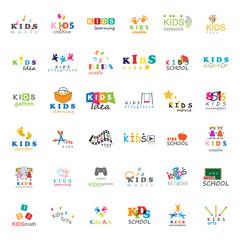 Children Icons Set-Vector Illustration,Graphic Design.For Web,Websites,App,Print,Presentation Templates,Mobile Applications,Promotional Materials.Kids Note,Balloon,Handprints,Book,Vision,Bulb,Collage
