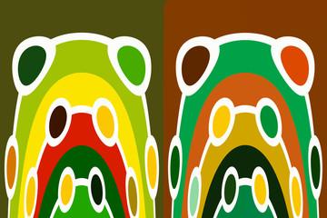 Symmetrical round figures in warm tones