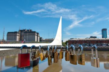 Womens Bridge with love locks, Buenos Aires Argentinien