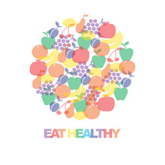 Eat healthy - motivational poster or banner with colorful  phrase eat healthy on colorfull background with  icons and signs of fruits. Vector illustration