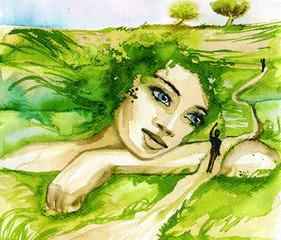 Canvas Prints Painterly Inspiration akwarelowy portret kobiety