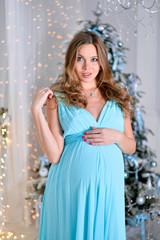 Pregnancy woman in blue