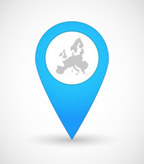 Map mark icon with  a map of Europe