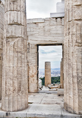 Remains of ancient buildingsin in the Acropolis of Athens