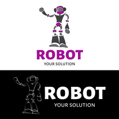 Vector logo robot. Brand logo in the form of a robot