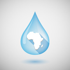 Long shadow water drop icon with  a map of the african continent