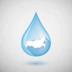 Long shadow water drop icon with  a map of Russia