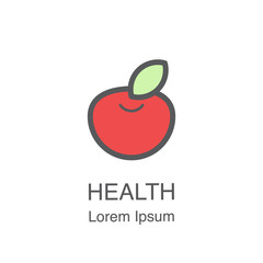 Red apple vector icon.
