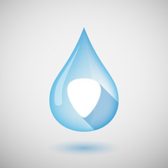 Long shadow water drop icon with a plectrum