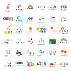 Children Icons Set-Vector Illustration,Graphic Design.For Web,Websites,App,Print,Presentation Templates,Mobile Applications,Promotional Materials.Kids Note,Balloon,Handprints,Book,Logo Bulb,Collage