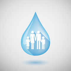Long shadow water drop icon with a conventional family pictogram