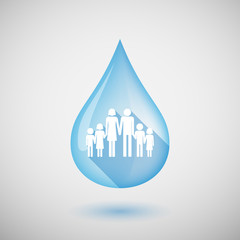 Long shadow water drop icon with a large family  pictogram