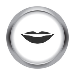 Lips smile simple icon on colorful background