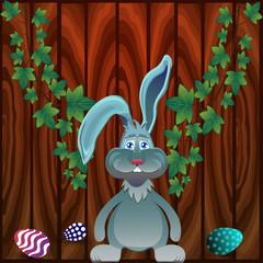 Grey rabbit and eggs