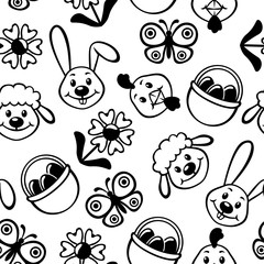 Easter cartoon muzzles pattern seamless