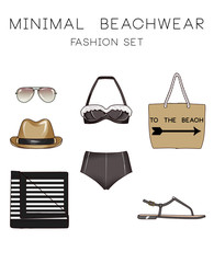 Fashion set of woman's clothes and accessories - Beachwear  fashion set