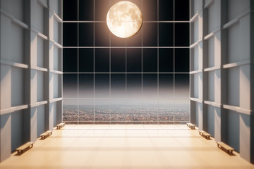 Modern empty hall with big window with moon