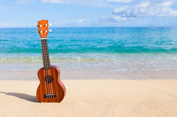 Ukulele on the beach.