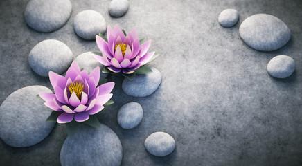 Wall Mural - Zwei Lotusblüten auf Steinen