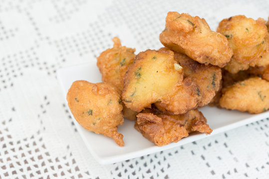 Detail of some cod fritters