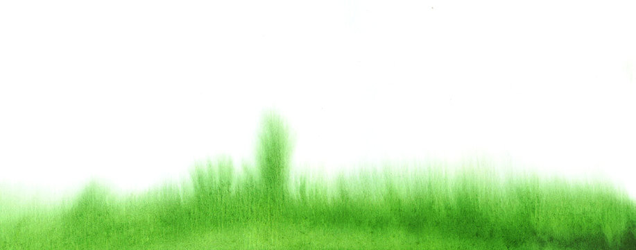 Watercolor green fluid watercolor grass stains texture. Abstract hand painting background on white.