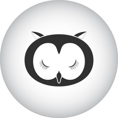 Sleeping owl simple icon on colorful background
